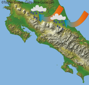Orographic Forcing - Costa Rica's mountains force the warm air up