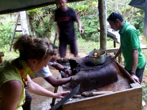 The traditional stove in Costa Rican camps is an elevated wooden box filled with sand.