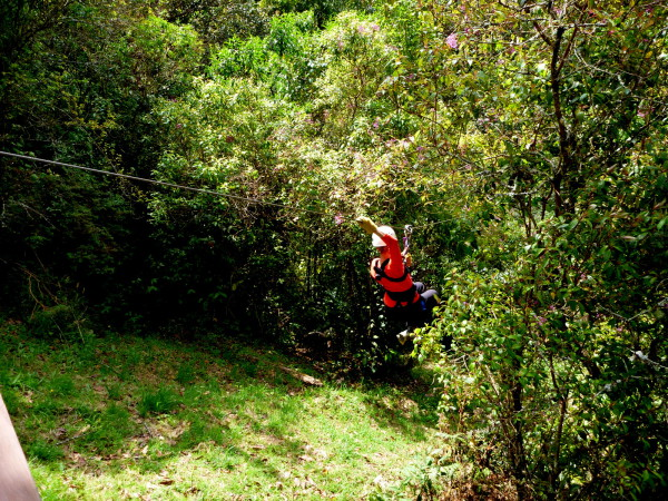 Sue on a zipline over the Savegre Valley San Gerardo de Dota
