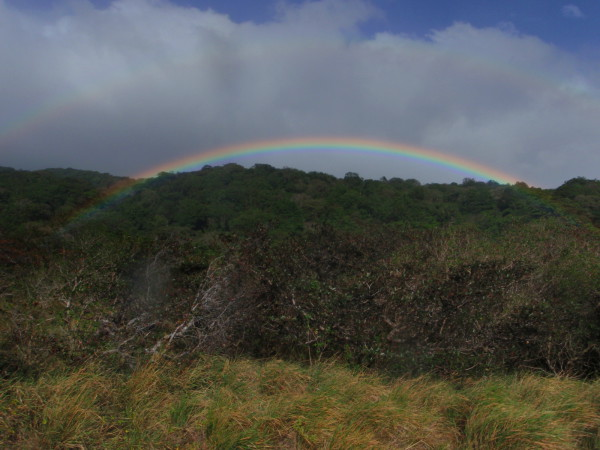Double rainbow (low and bright over the trees and high and faint in the clouds) Rincon de la Vieja