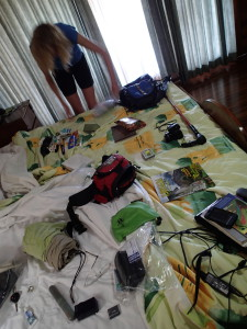 Paring the pack down for an overnight Pacuare rafting trip. Every few days we end up unpacking everything, reorganizing for road trip mode, trek mode, or business meeting mode.