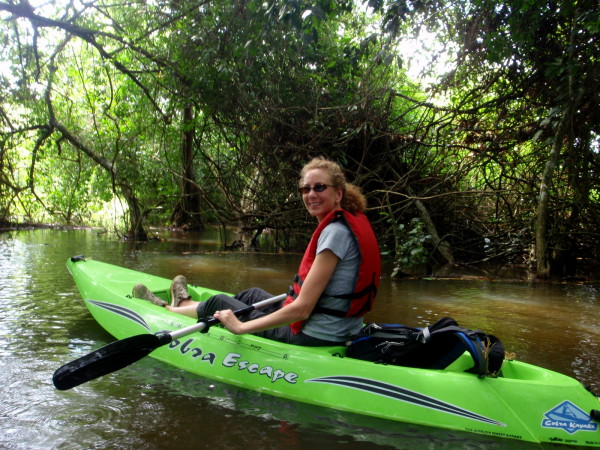 Sue in a sit on top kayak Caño Negro