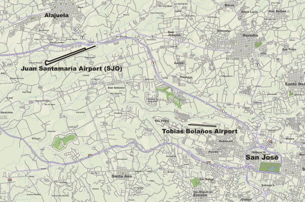 SJO Bolanos Airport locations map