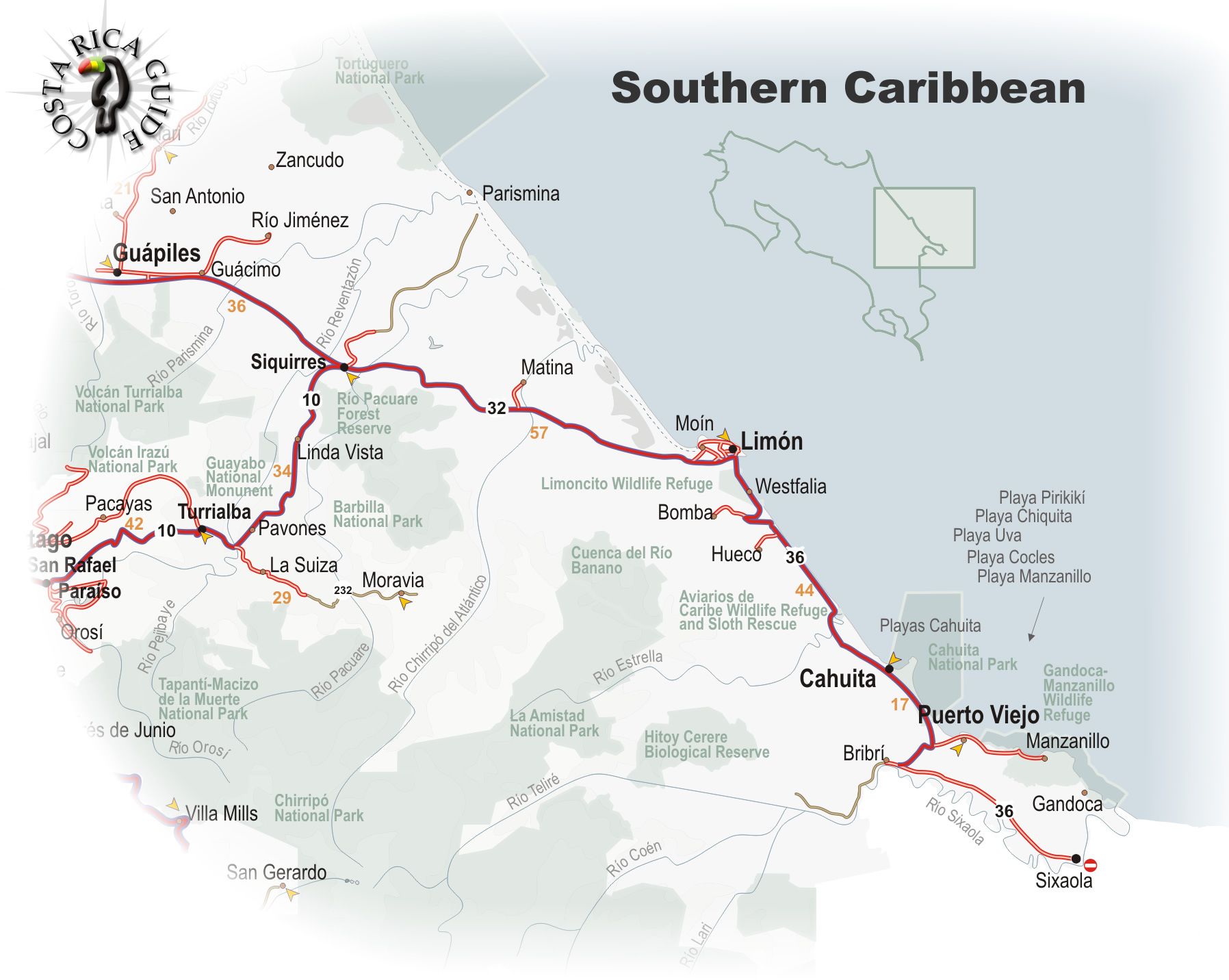Map Of The Southern Caribbean Region Of Costa Rica - Costa rica regions map