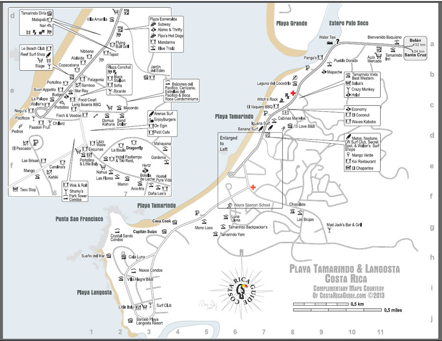 Tamarindo Beach Langosta free printable map
