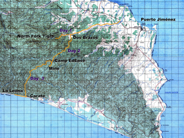 Topo map - Trekking route across the Osa Peninsula