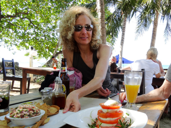 Ceviche and Caprese on the beach at Tamarindo