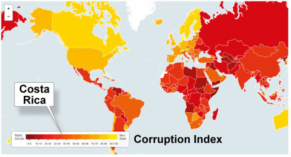 Costa Rica's ranking on the world map of corruption