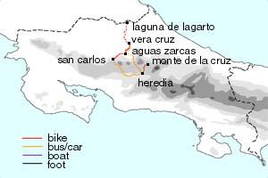 Warm-up bike routes - San Carlos (Ciudad Quesada) -> Vera Cruz -> Laguna de Lagarto/Boca Tapada -> Vera Cruz -> Cerro Blanco -Vera Cruz 155 km and approximately 1,200 meters of elevation gain by bike