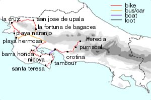 1999 Nicoya Peninsula bike tour loop