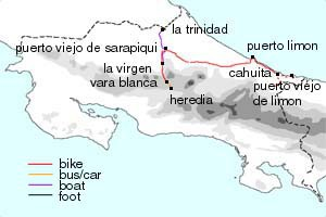 Caribbean bike tour map