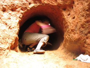 Get me the heck out of here - the mine shaft went back about 30 meters (100 feet) and never widened out