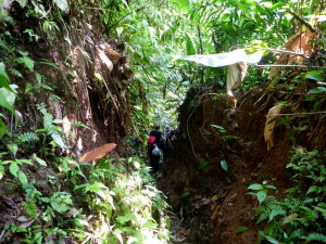 The trail was eroded over two meters deep in places