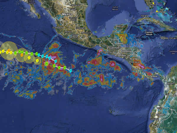 Tropical storms and Hurricanes Costa Rica Map