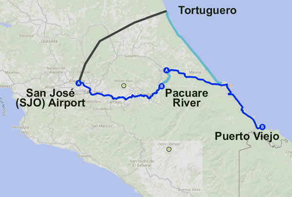 Pacuare River >> Puerto Viejo on the Caribbean >> Tortuguero - Wooly Wet Wilderness