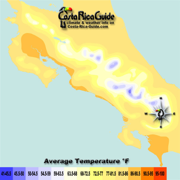 August Costa Rica Map of Average Temperatures