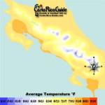 October Costa Rica Map of Average Temperatures