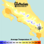 December Costa Rica Map of Average Temperatures
