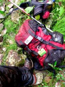 Wet muddy pack and boots