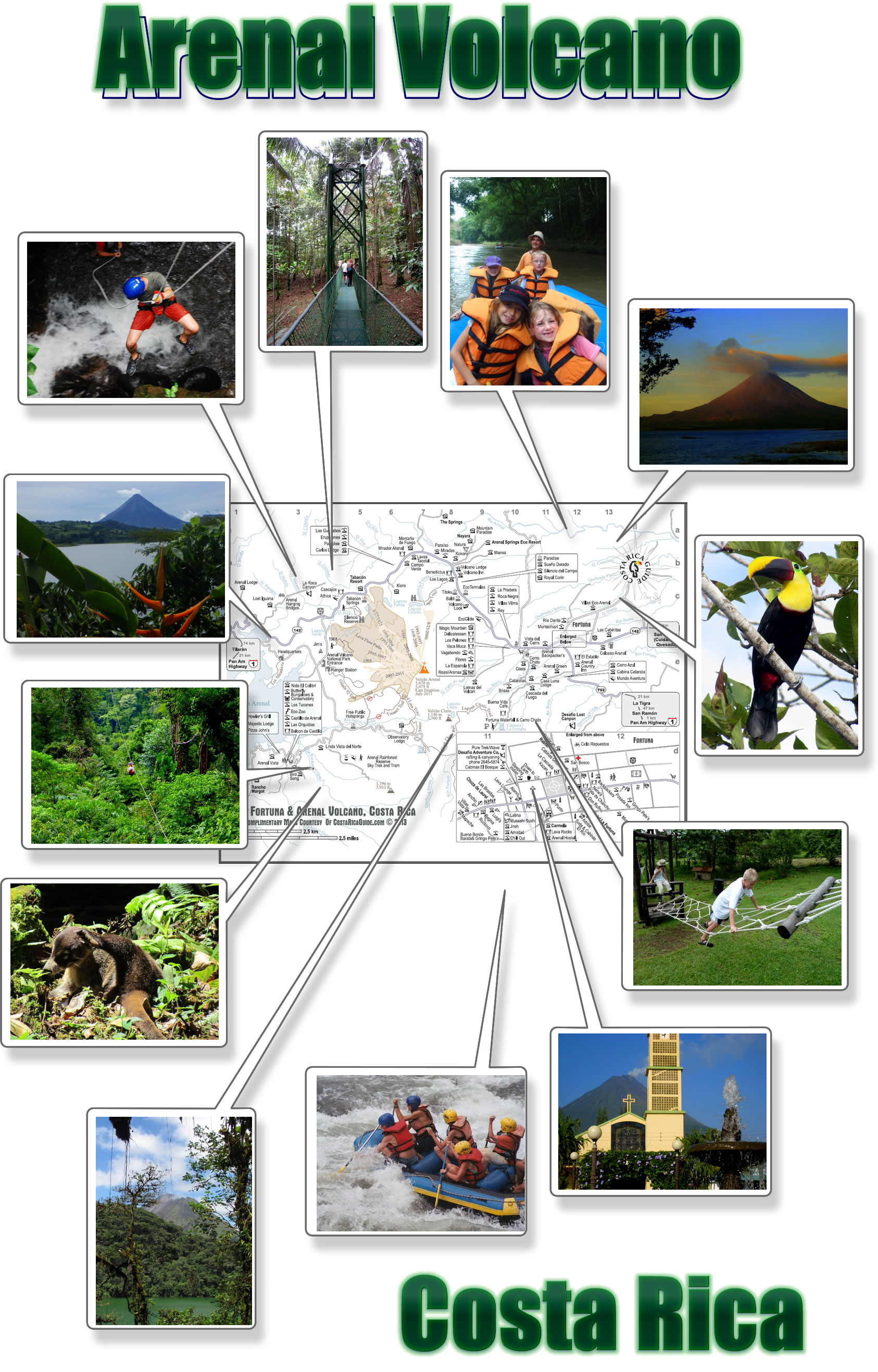 Arenal Volcano & La Fortuna Map - free printable download
