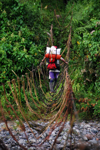 The vines between the hand cables and the foot cables helped stabilize the bridge