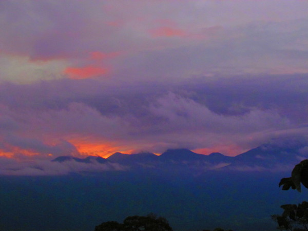 Sunset from the slopes of Tenorio volcano over the Bijagua valley