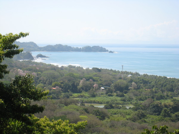 Playa Dominical and the little surf town of Dominical from the mirador at Baru Wildlife Refuge