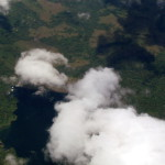 Lake Arenal Dam from 18,000 feet on a commercial jet on the way from the U.S. to SJO