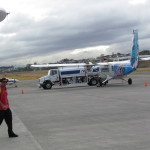 Fueling up for the flight to Manuel Antonio - at Pavas regional airport San Jose