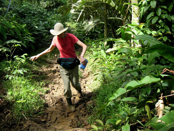 The infamous rubber boots (usually available to borrow from eco lodges) are ideal for this muddy trail in Gandoca Manzanillo Wildlife Refuge. Just be careful or they will get pulled right off your feet by the suction of the mud