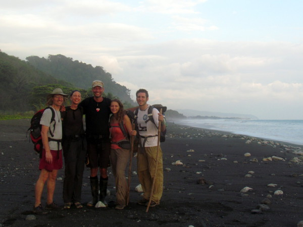 We reached the Pacific at Playa Carate on our Osa trans-penisular trek