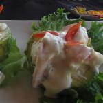 Shrimp stuffed Avacados at the Tiki Hut Playa Marbella
