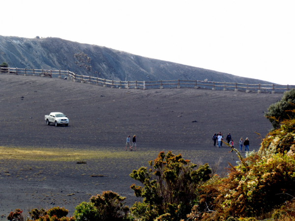 Herding tourists - The rangers at Irazu volcano drive their pickup out onto the rim every day at 3:15 and start herding the tourists back towards the exit so the park can close by 3:30