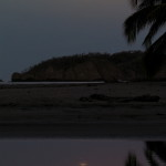 Moon reflecting in the estuary with Carrillo Bay, central Nicoya peninsula