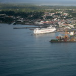Cruise ship docked at Puerto Limon, central Caribbean coast (from the air)