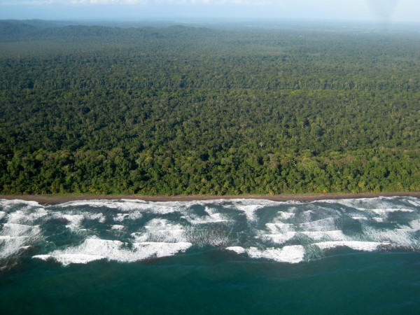Near the middle of Playa Tortuguero with Cerro Morazon and Lomas del Sierpe in the background. The canal is barely visible as a horizontal band about half way between the horizon and the beach