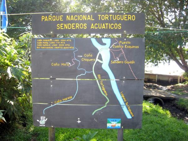 Tortuguero aquatic trail map (Senderos Acuaticos)