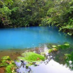 Laguna Azul is a natural pool in the Río Celeste dyed turquoise blue by a high concentration of copper sulfate and other mineral complexes.