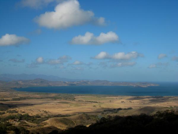 Looking over over Bahía de Salinas, Playa Pochote and Isla Bolaños National Wildlife Refuge from Amalias Inn, La Cruz
