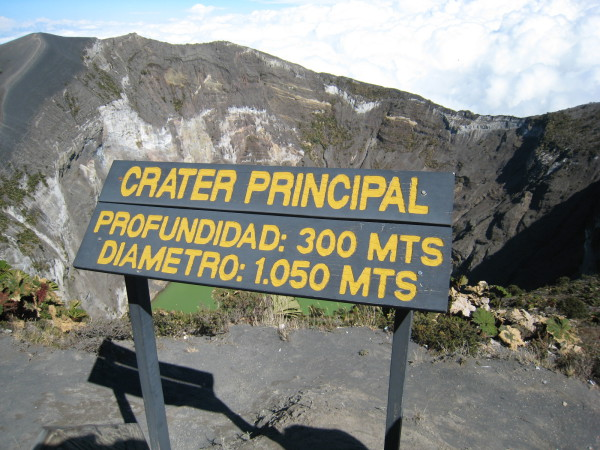 Main crater sign, Irazu Volcano National Park, Costa Rica