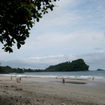 The public beach at Manuel Antonio (Playa Espadilla Sur with the National Park in the background)