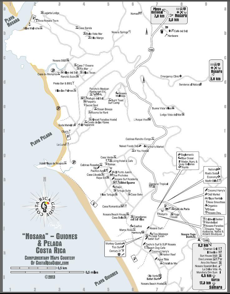 Nosara guiones beach free printable map nosara guiones beach map sciox Choice Image