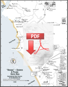 Nosara and Guiones Beach Map PDF Download