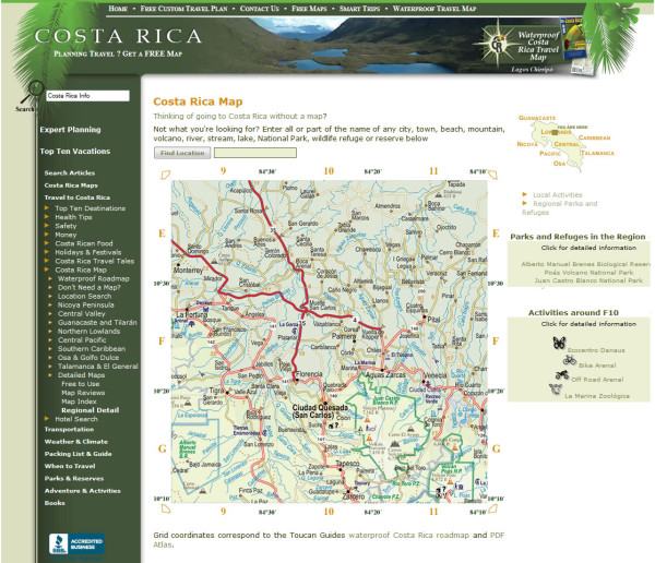 Costa Rica location map from the days before google maps
