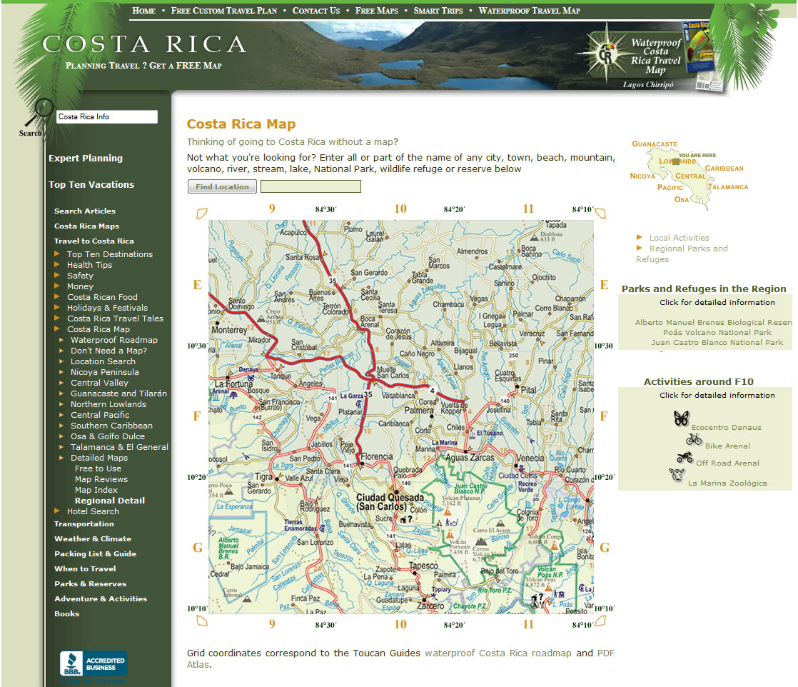 Search Locations On The Map Of Costa Rica
