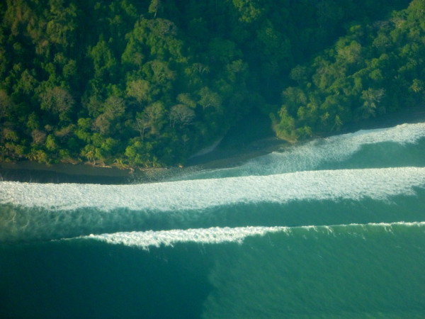The river mouth doesn't look too daunting from the air but especially at high tide many of the rivers in Corcovado can be obstacles for hikers