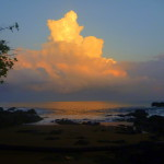 Sunrise glow on the western clouds over the Pacific from playa San Josecito south of Drake Bay, Osa Peninsula