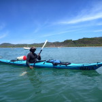 Sea kayaking in the bay in front of playa Carrillo, central Nicoya peninsula
