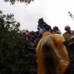 Tour Group climbing onto the lava flow on the Sendero Coladas.