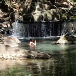 Seriously? On your phone in the hot water river? Rio Aguacaliente north of Bagaces Guanacaste